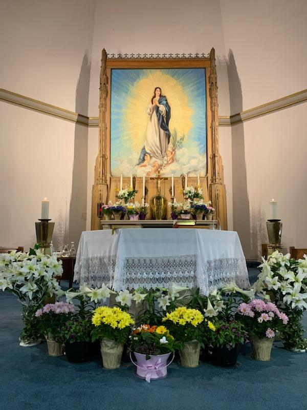 Altar with Easter Flowers
